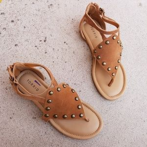 Torrid Tan Suade Leather Canvas Stud Thong Sandals
